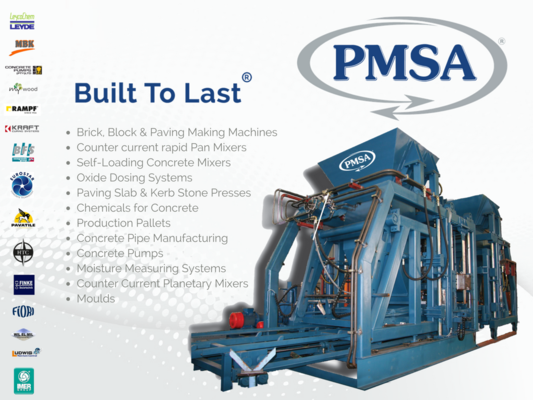 batching plants, block making machines, brick machines, panmixers, pmsa, pmsa.com, concrete mixers, concrete pumping, oxide weighing system, oxidide, pallet handling systems, pan mixers, ready mix plants, weigh batching, oxide weighing systems