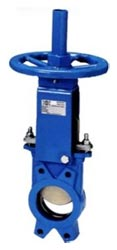 "Hydravalve offers knife gate valves in sizes of 2"" to 24"" with cast iron bodies, stainless steel blades and EPDM seals."