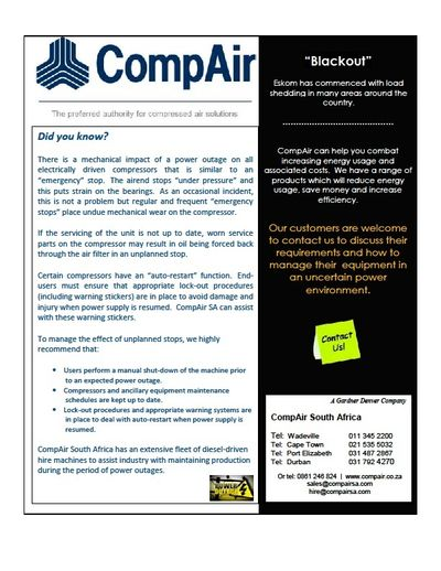 Power outages and their effect on your air compressors